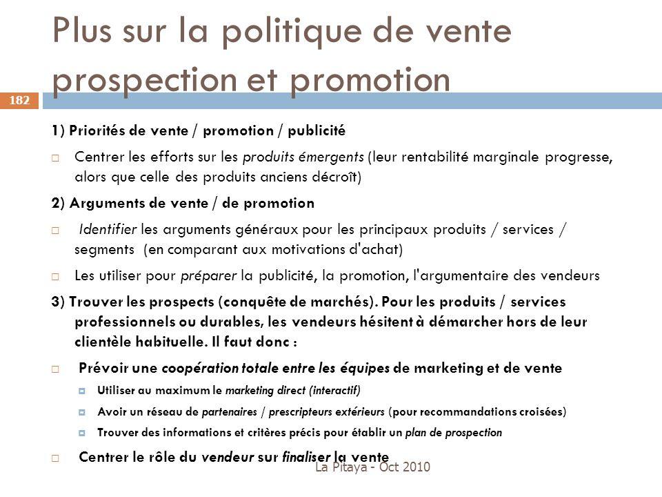 Plus sur la politique de vente prospection et promotion