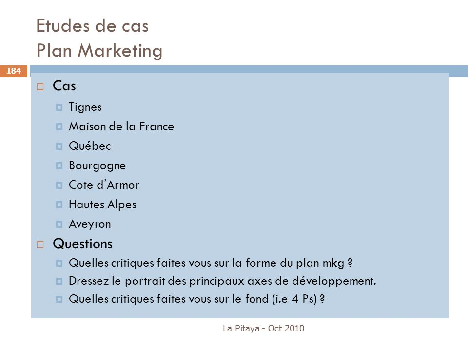 Etudes de cas Plan Marketing
