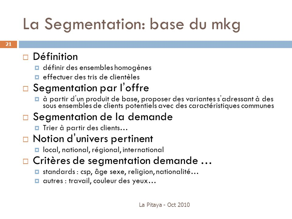 La Segmentation: base du mkg