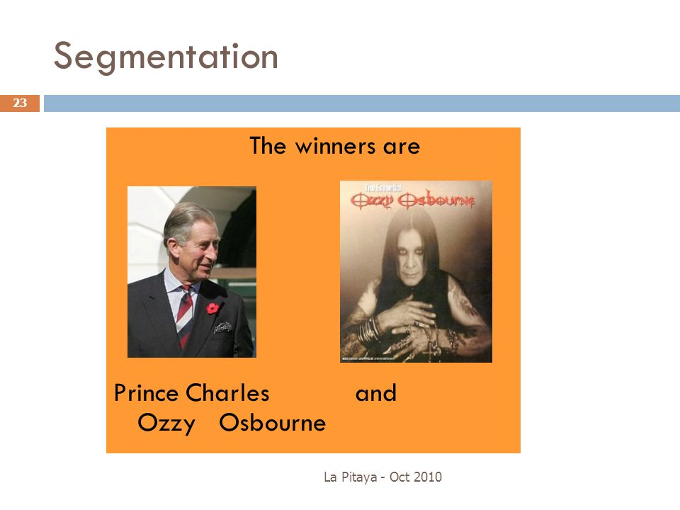 Segmentation Prince Charles and Ozzy Osbourne The winners are