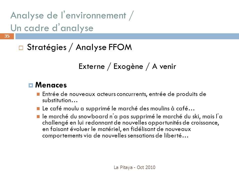Analyse de l'environnement / Un cadre d'analyse