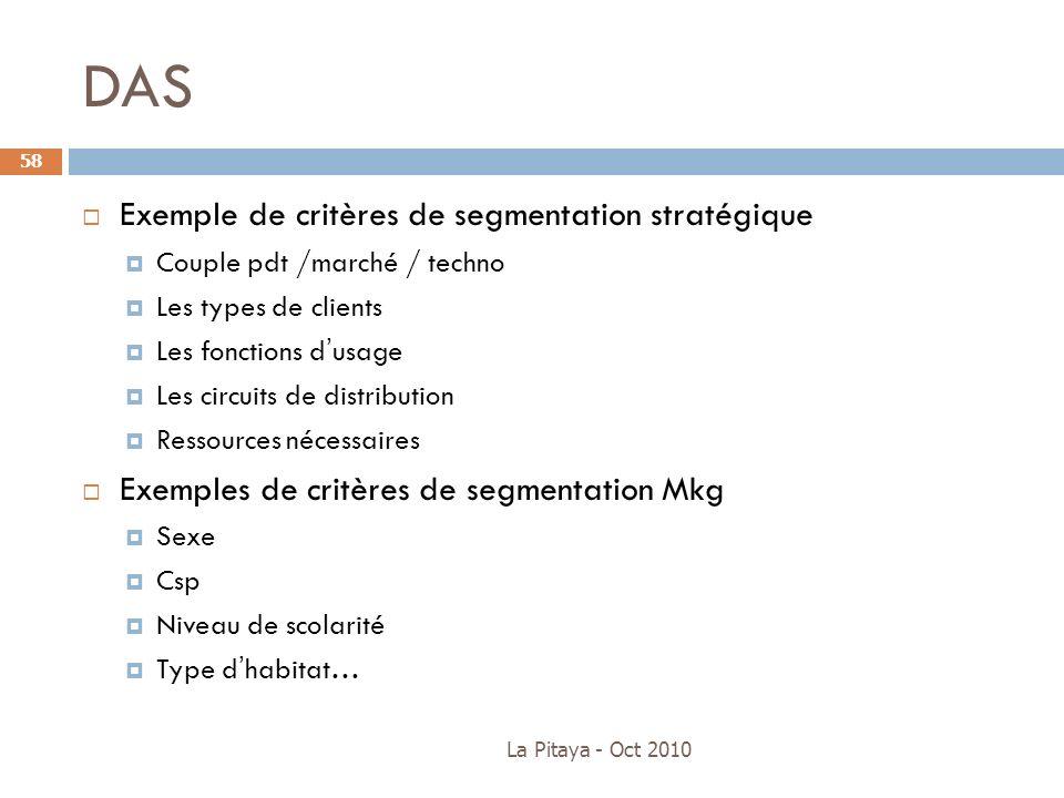DAS Exemple de critères de segmentation stratégique