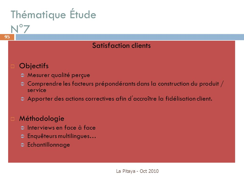 Thématique Étude N°7 Satisfaction clients Objectifs Méthodologie