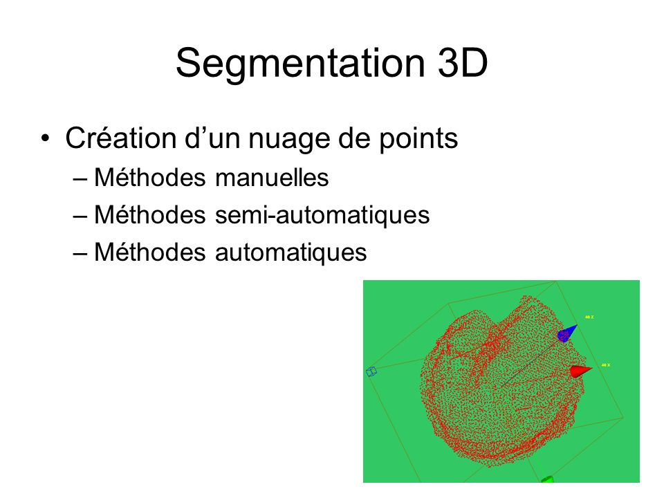 Segmentation 3D Création d'un nuage de points Méthodes manuelles