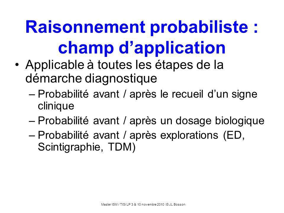Raisonnement probabiliste : champ d'application