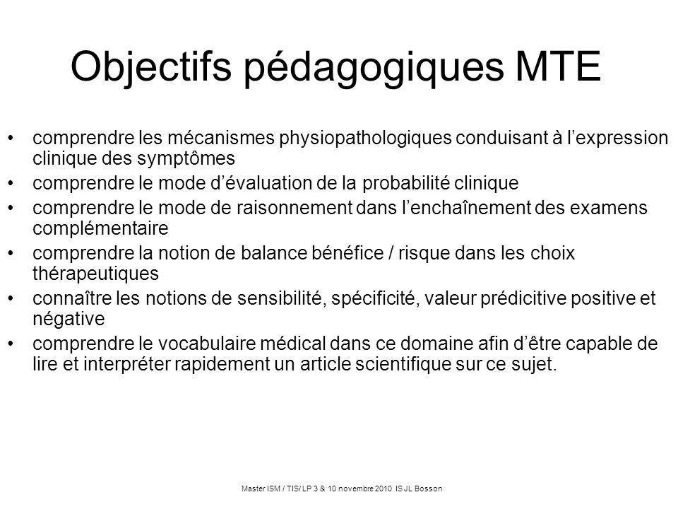 Objectifs pédagogiques MTE