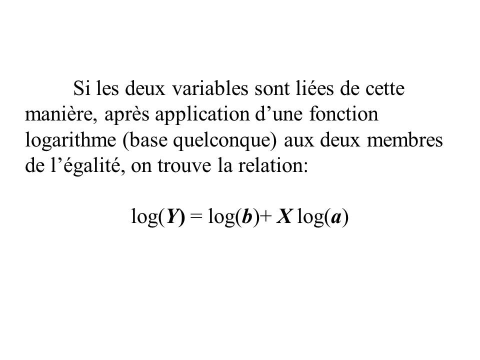 log(Y) = log(b)+ X log(a)