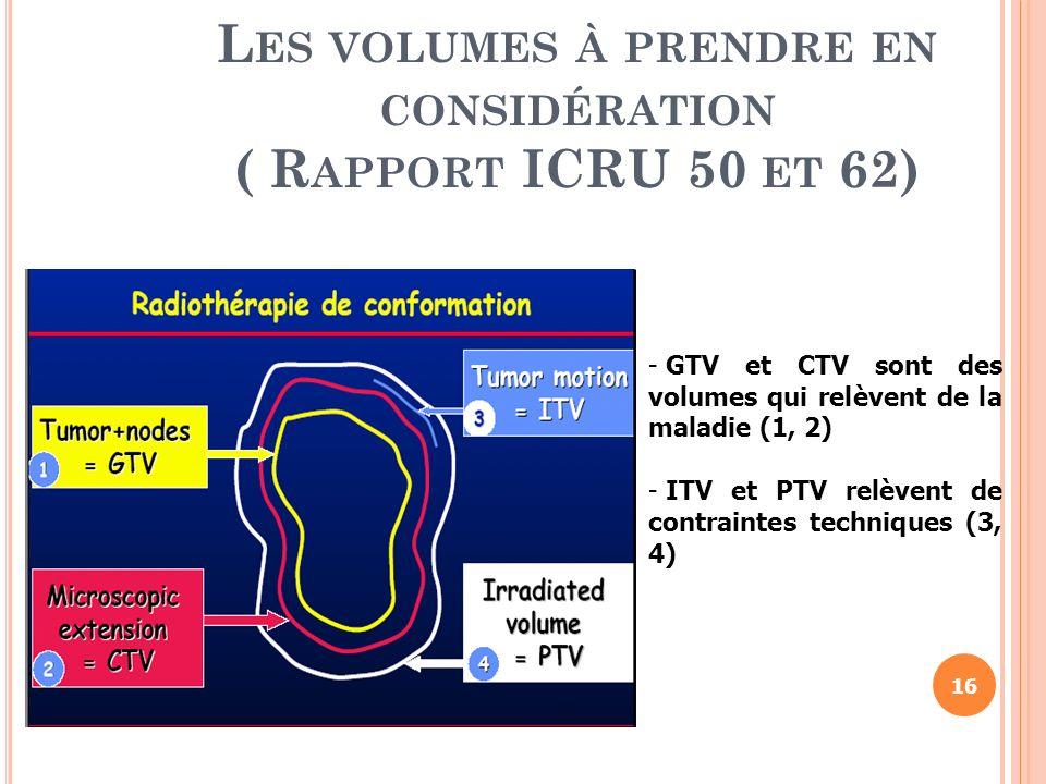Les volumes à prendre en considération ( Rapport ICRU 50 et 62)
