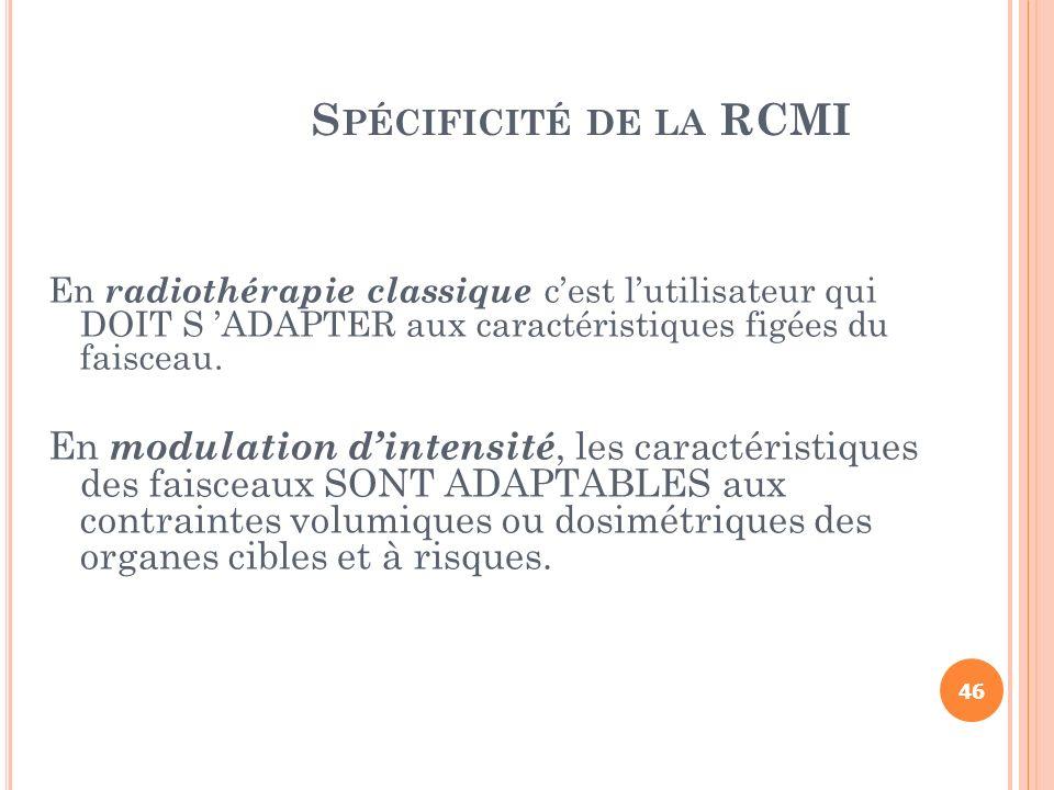 Spécificité de la RCMI En radiothérapie classique c'est l'utilisateur qui DOIT S 'ADAPTER aux caractéristiques figées du faisceau.