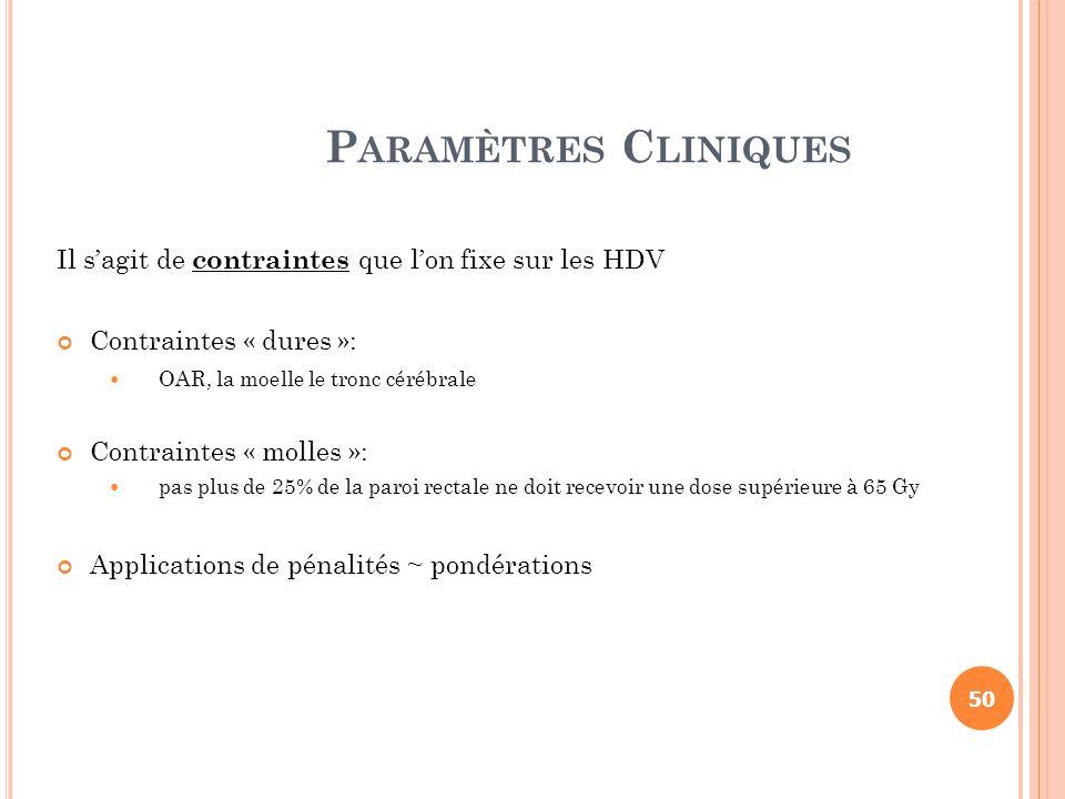 Paramètres Cliniques Il s'agit de contraintes que l'on fixe sur les HDV. Contraintes « dures »: OAR, la moelle le tronc cérébrale.