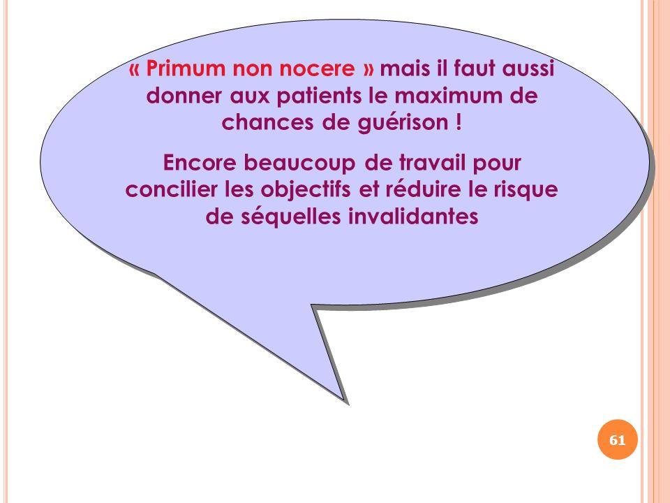« Primum non nocere » mais il faut aussi donner aux patients le maximum de chances de guérison !
