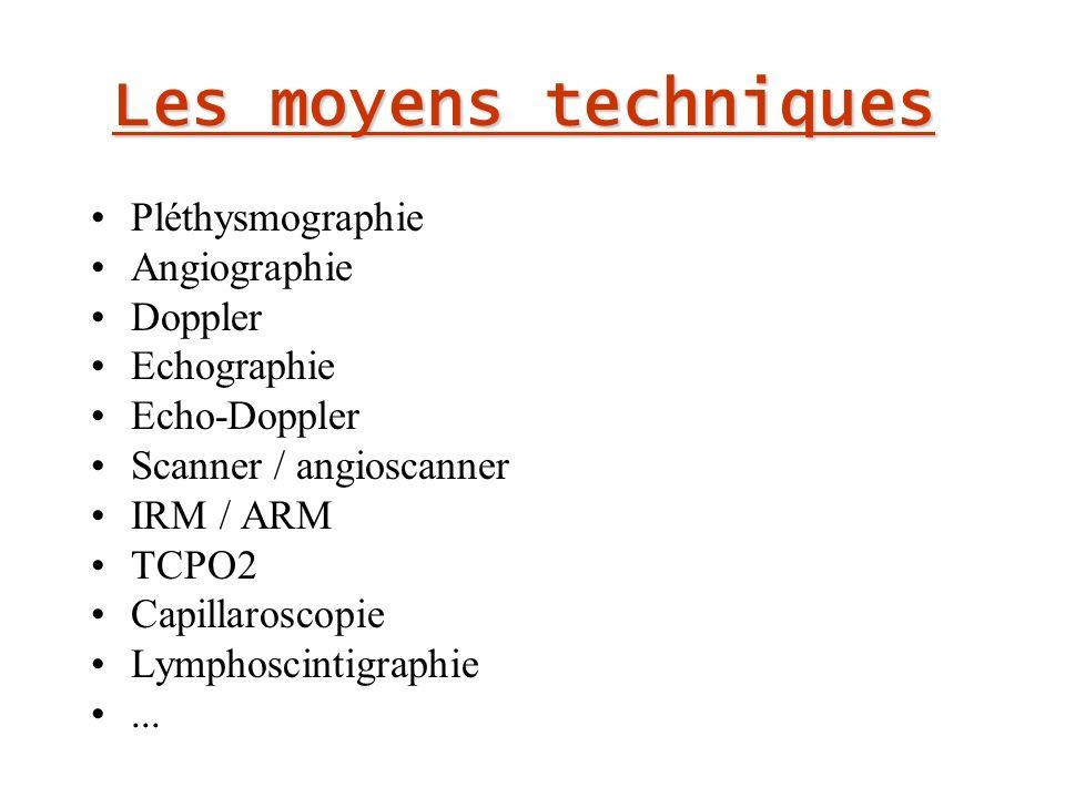 Les moyens techniques Pléthysmographie Angiographie Doppler