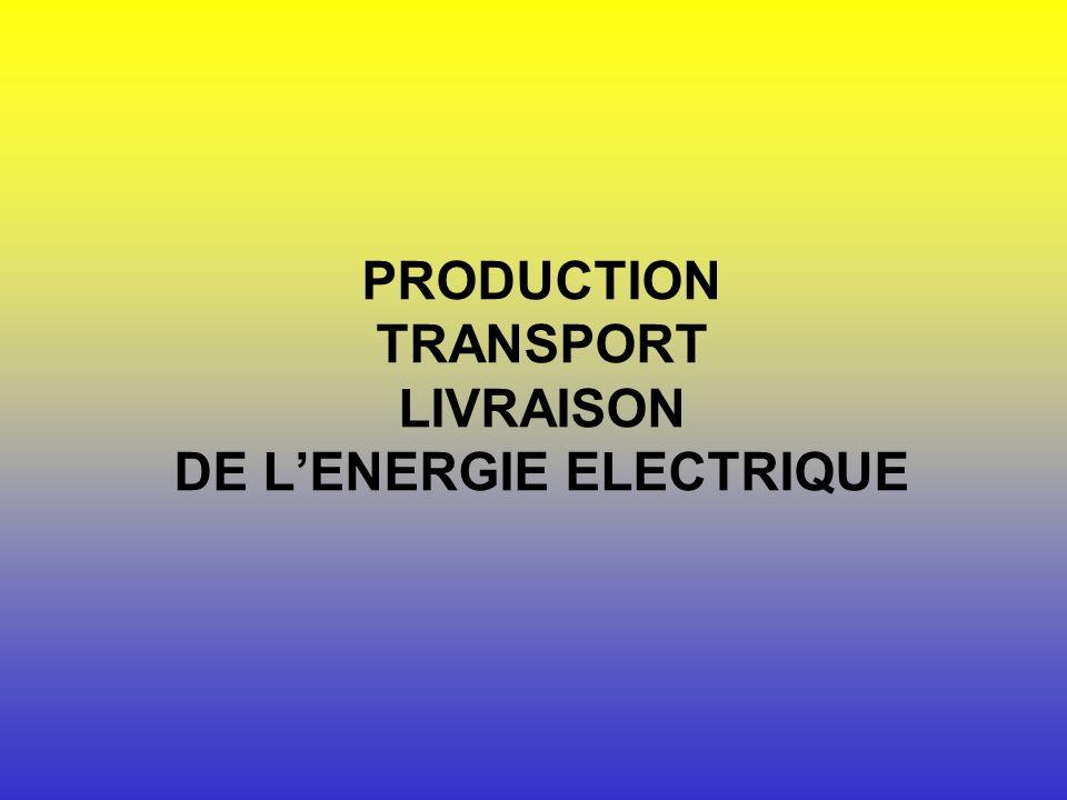 PRODUCTION TRANSPORT LIVRAISON DE L'ENERGIE ELECTRIQUE