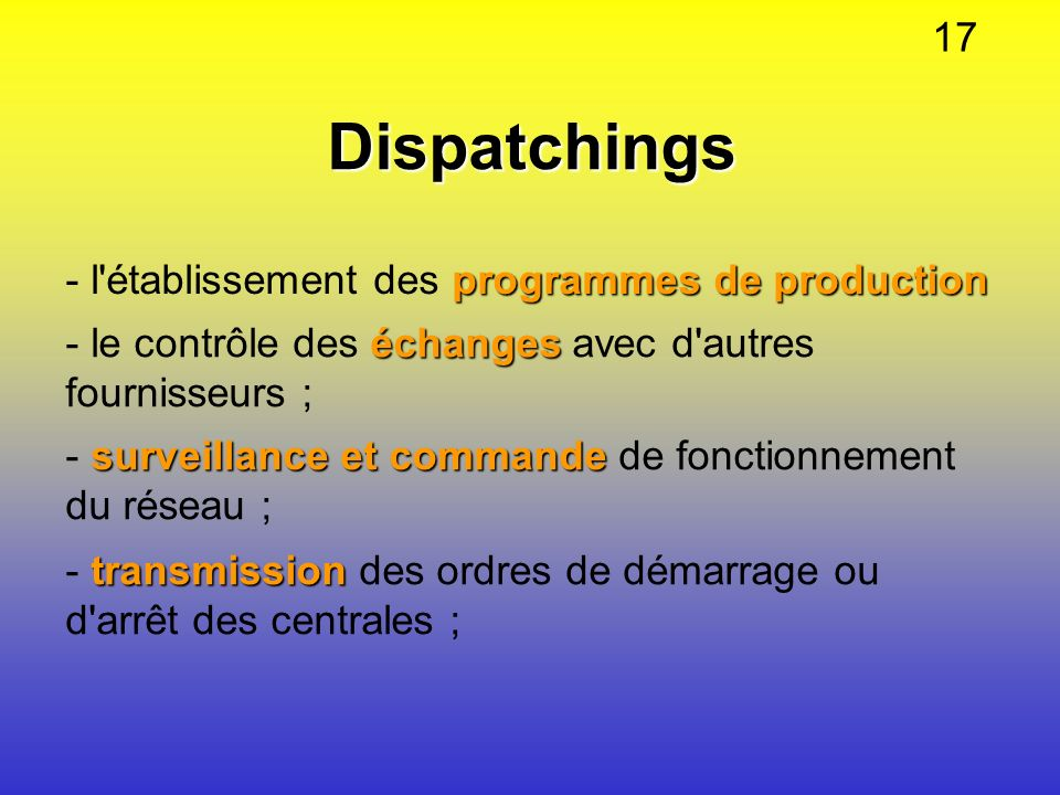 Dispatchings 17 - l établissement des programmes de production