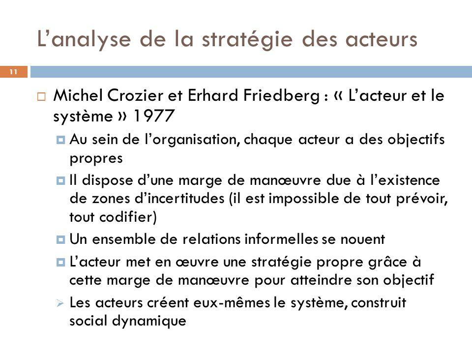 L'analyse de la stratégie des acteurs