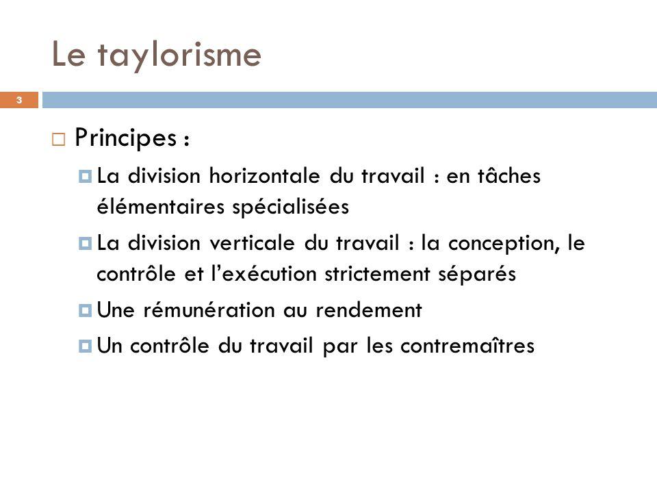 Le taylorisme Principes :