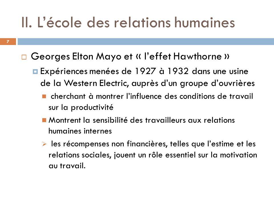 II. L'école des relations humaines