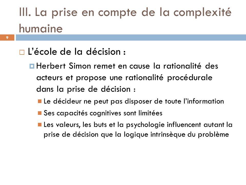 III. La prise en compte de la complexité humaine