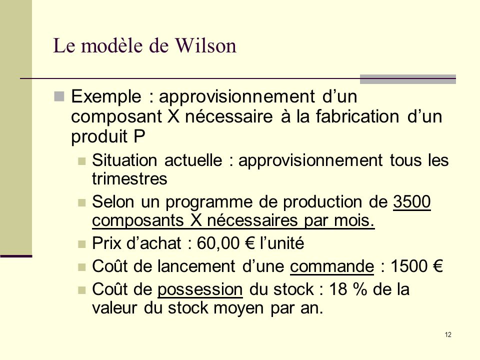 Le modèle de WilsonExemple : approvisionnement d'un composant X nécessaire à la fabrication d'un produit P.
