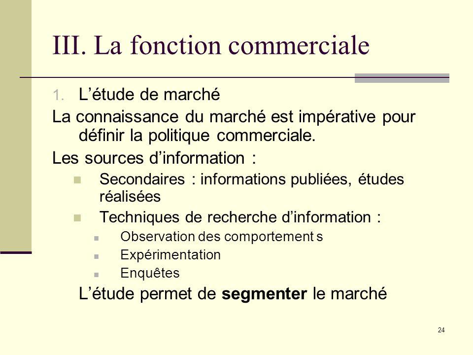 III. La fonction commerciale