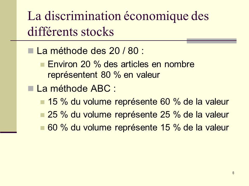 La discrimination économique des différents stocks