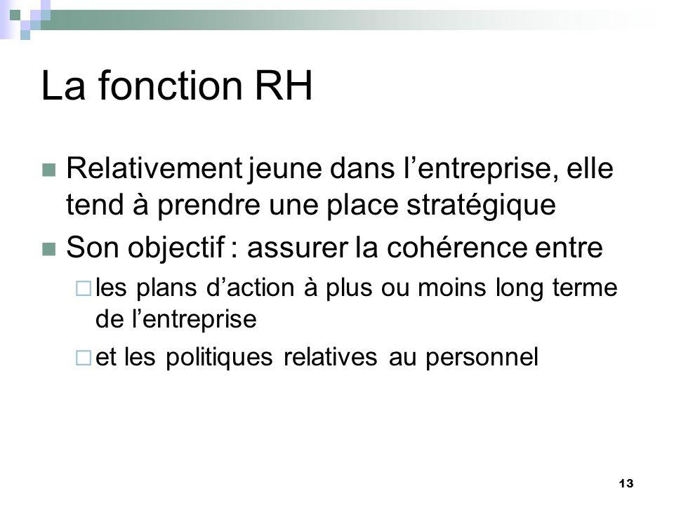 La fonction RH Relativement jeune dans l'entreprise, elle tend à prendre une place stratégique. Son objectif : assurer la cohérence entre.
