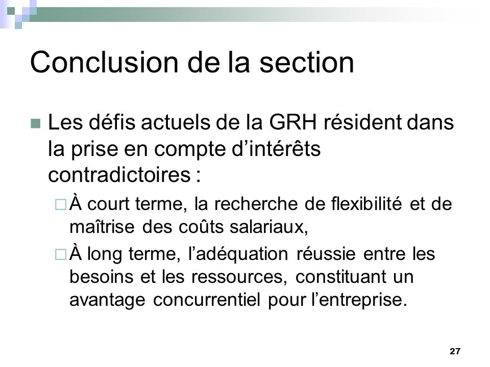 Conclusion de la section