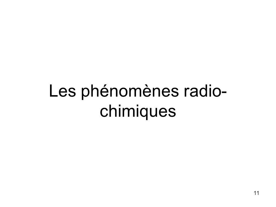 Les phénomènes radio-chimiques