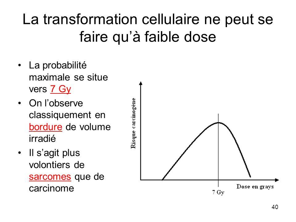 La transformation cellulaire ne peut se faire qu'à faible dose