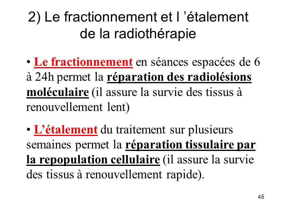 2) Le fractionnement et l 'étalement de la radiothérapie