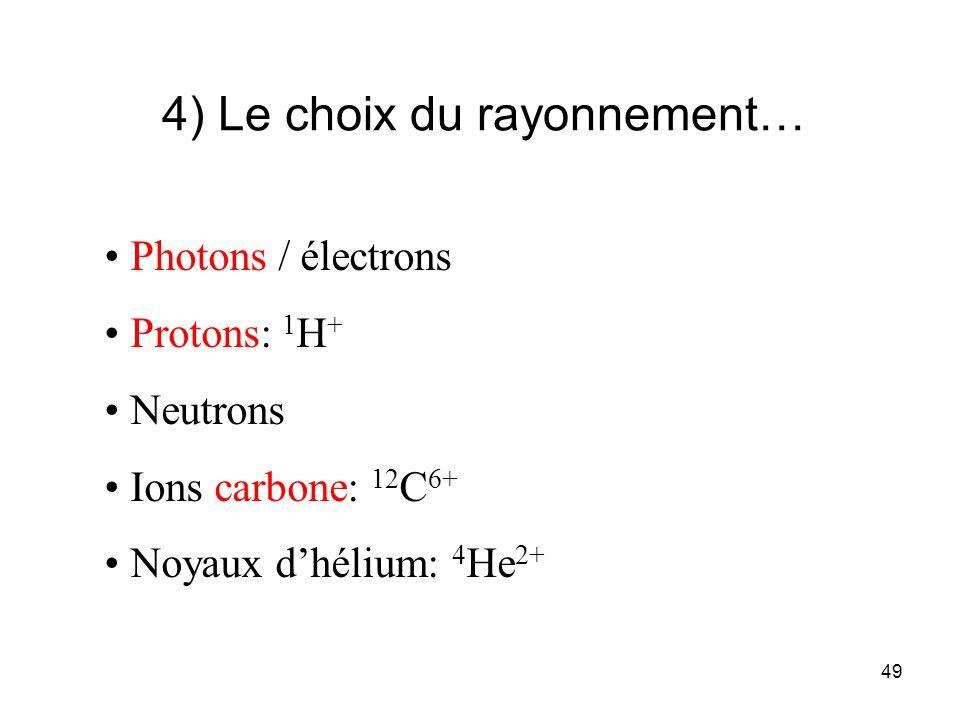 4) Le choix du rayonnement…