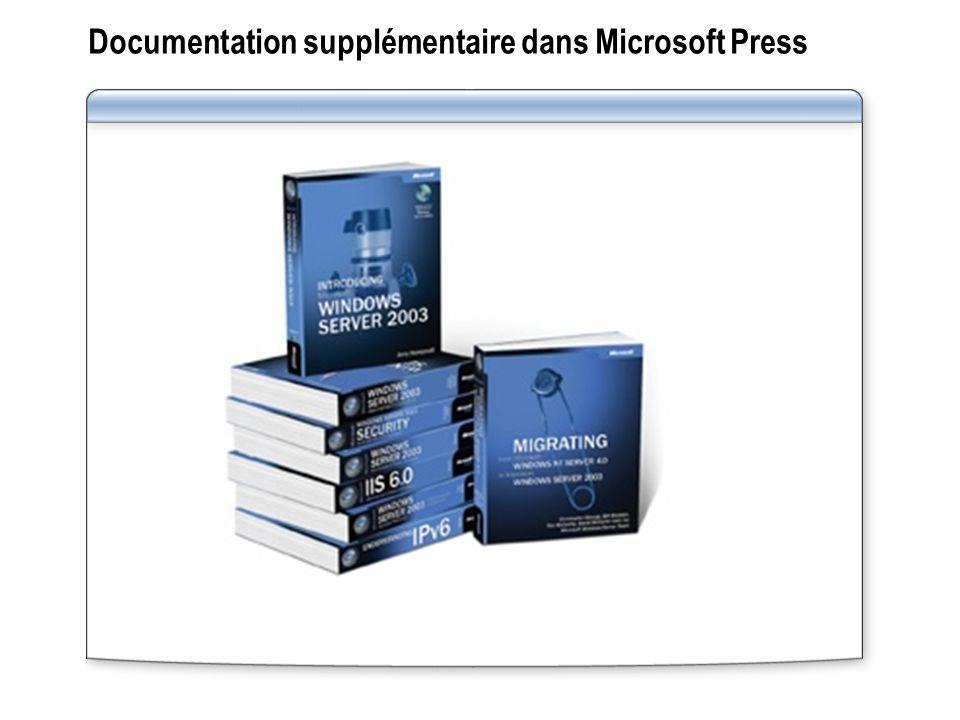 Documentation supplémentaire dans Microsoft Press