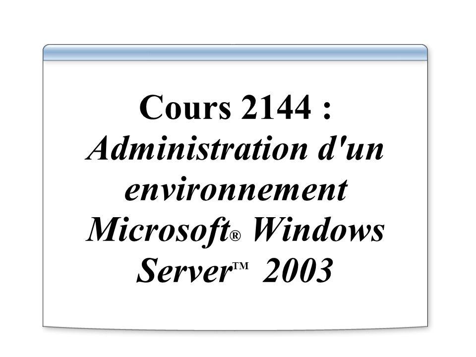 Cours 2144 : Administration d un environnement Microsoft® Windows ServerTM 2003
