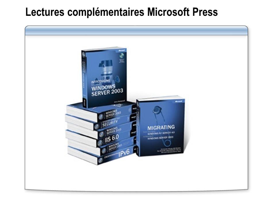 Lectures complémentaires Microsoft Press