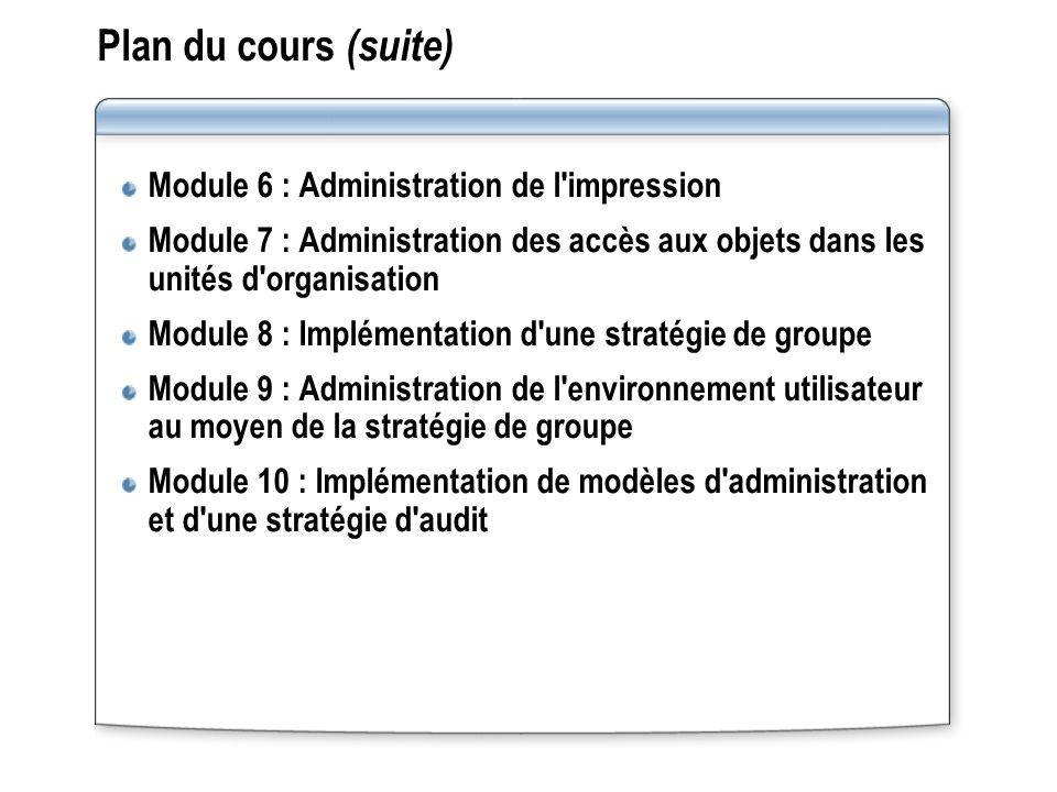Plan du cours (suite) Module 6 : Administration de l impression