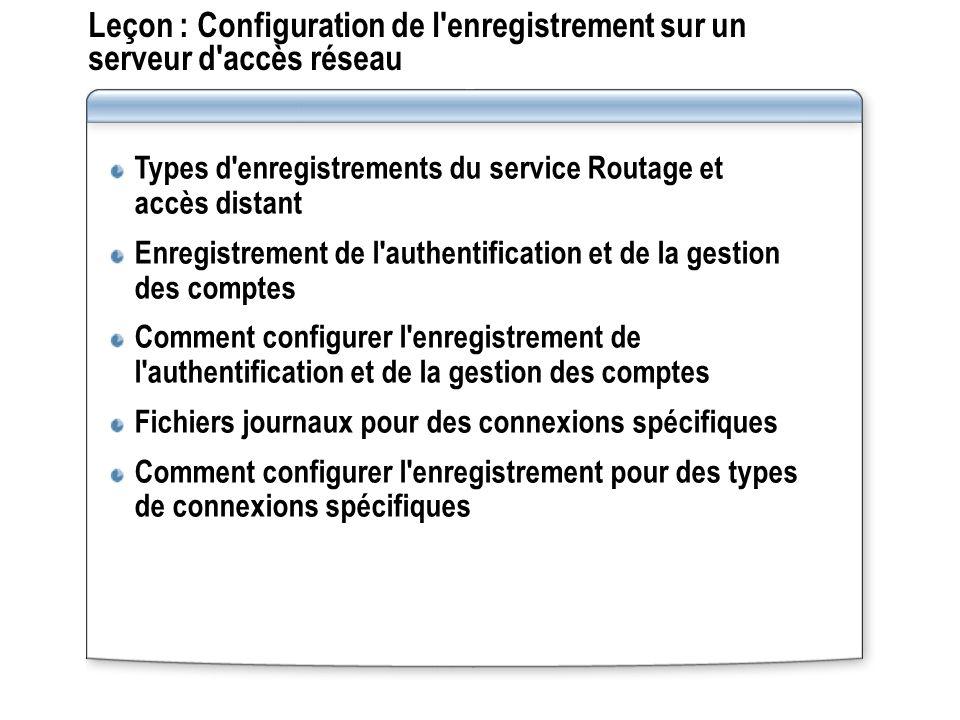 Leçon : Configuration de l enregistrement sur un serveur d accès réseau