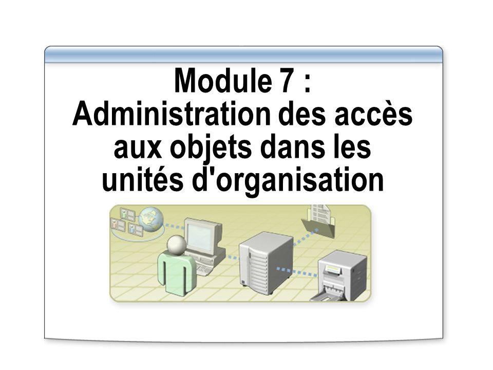 Module 7 : Administration des accès aux objets dans les unités d organisation