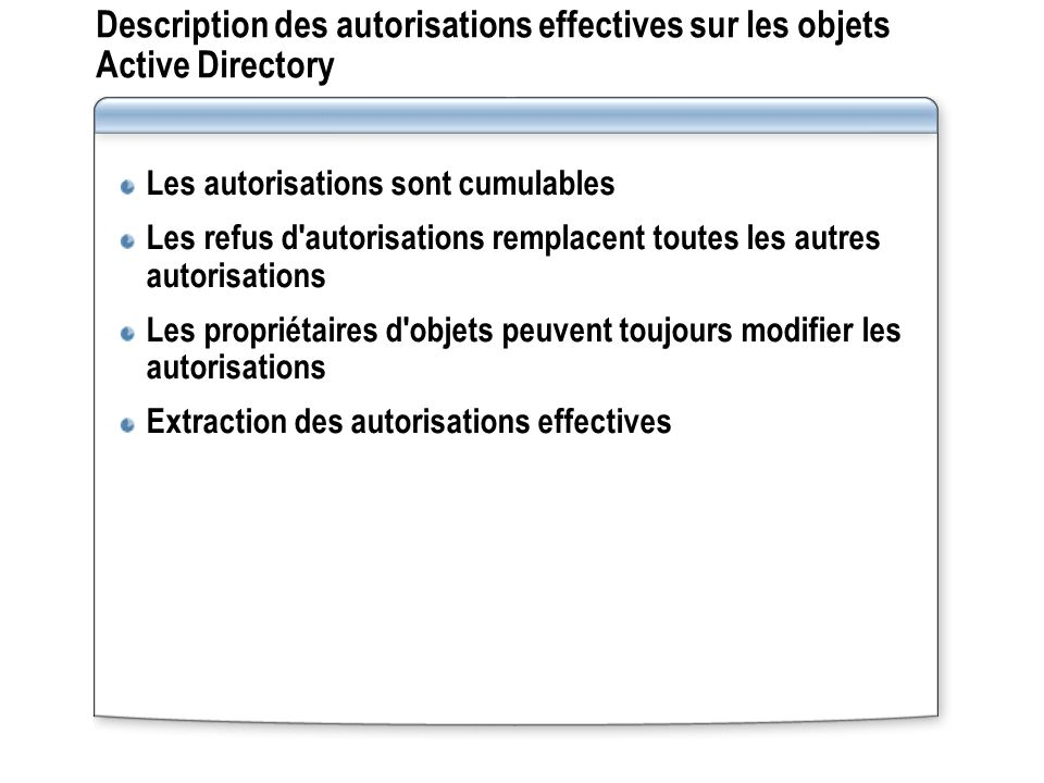Description des autorisations effectives sur les objets Active Directory