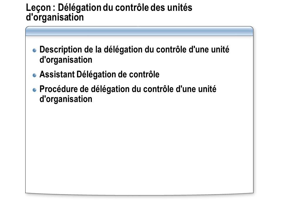 Leçon : Délégation du contrôle des unités d organisation