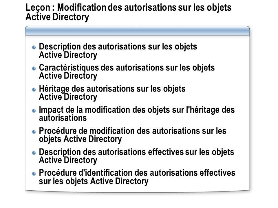 Leçon : Modification des autorisations sur les objets Active Directory