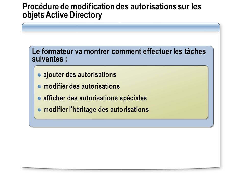 Procédure de modification des autorisations sur les objets Active Directory