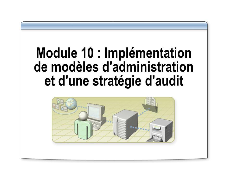 Module 10 : Implémentation de modèles d administration et d une stratégie d audit
