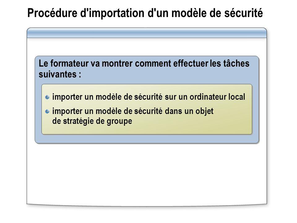 Procédure d importation d un modèle de sécurité