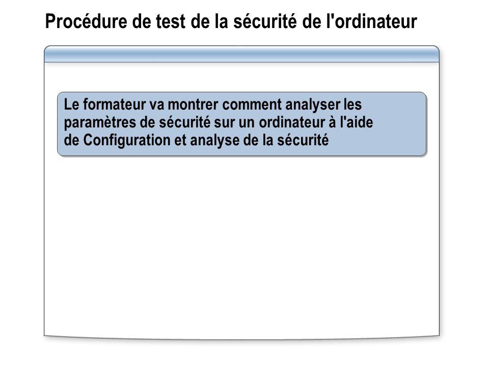 Procédure de test de la sécurité de l ordinateur