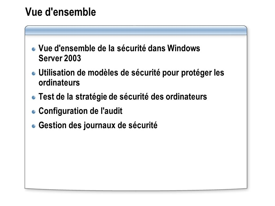 Vue d ensemble Vue d ensemble de la sécurité dans Windows Server 2003