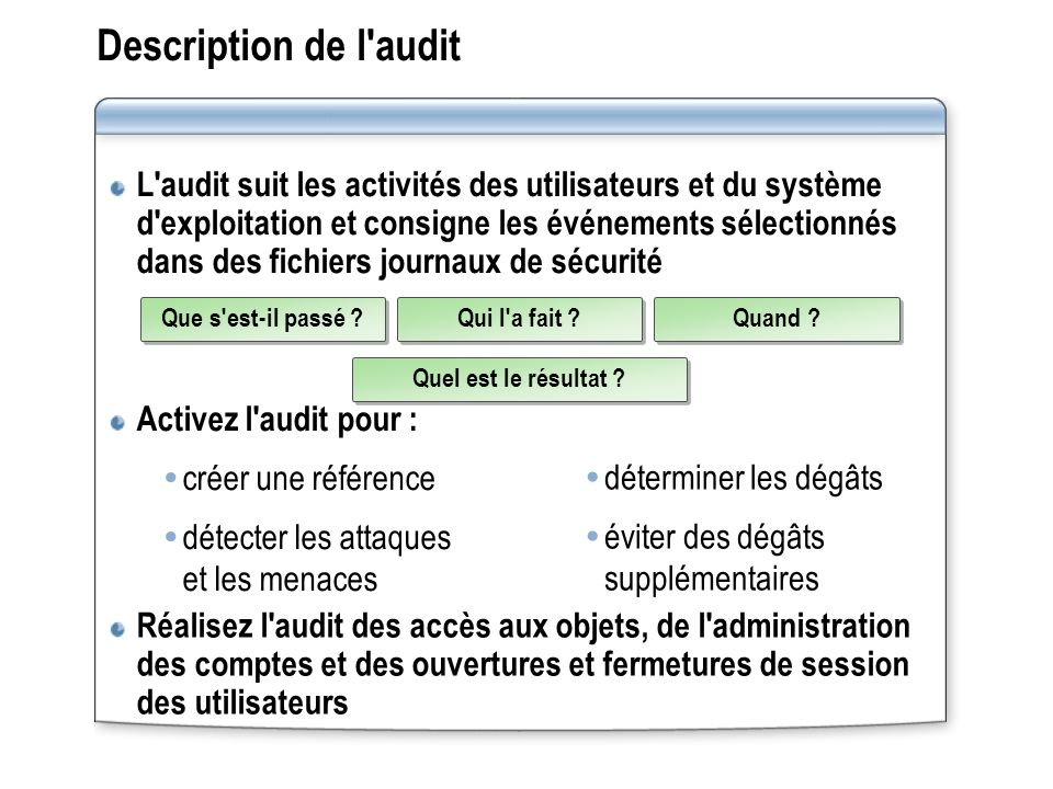 Description de l audit