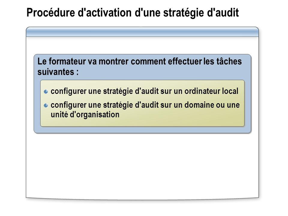 Procédure d activation d une stratégie d audit