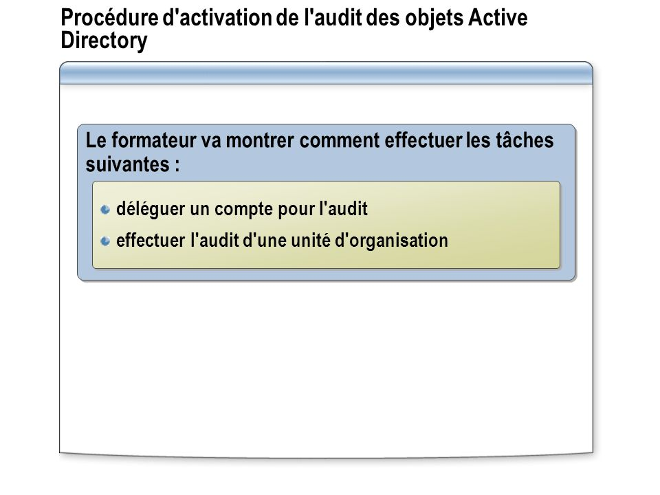 Procédure d activation de l audit des objets Active Directory