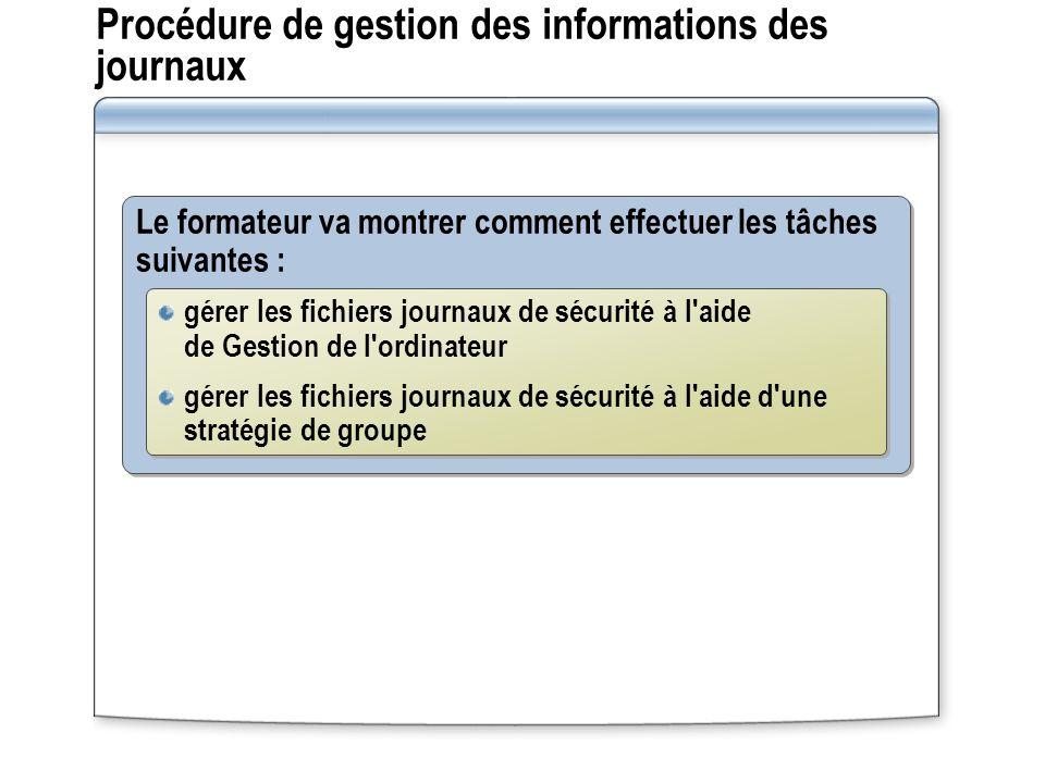Procédure de gestion des informations des journaux