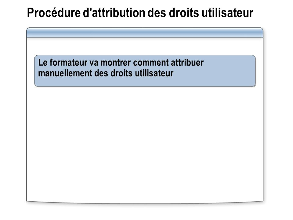Procédure d attribution des droits utilisateur